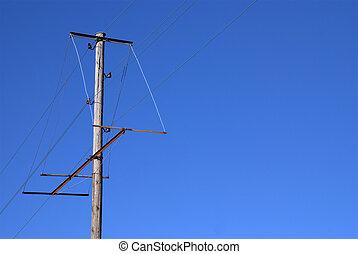 poste, madera, viejo, eléctrico