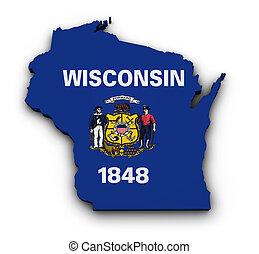 Wisconsin Flag Map Shape