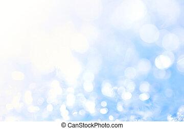 Blue bokeh background.