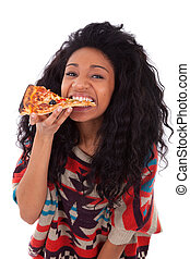 Young black african american teenage girl eating a slice of pizza, isolated on white background - african people