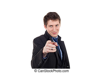 young business man pointing at