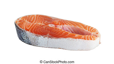 Trout steak - Raw trout steak isolated on white background