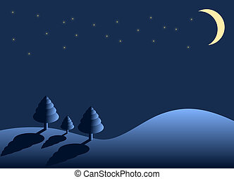 winter night - landscape with trees, moon and stars