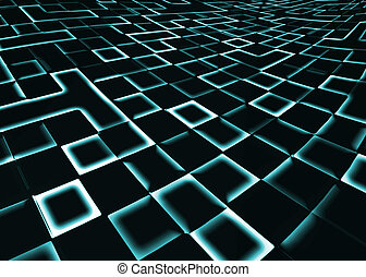 abstract square pixel mosaic blue green background