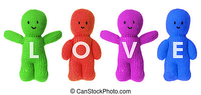 Love Soft Toys on White Background