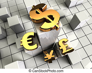 currency symbols - 3d illustration of abstract bars...