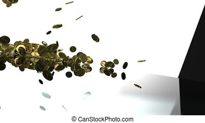 Gold Coins Falling - Animated 3D scene with gold coins...
