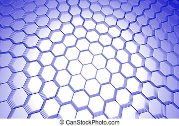 Abstract hexagon background 3D xray blue transparent on...