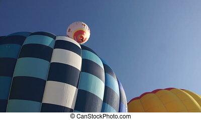 Image of bright hot air balloons, close-up