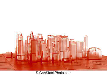 City 3D xray orange transparent on white