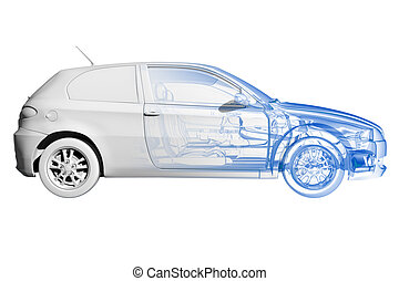 Car - transparent blue and black isolated on white