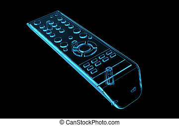 TV remote 3D xray blue transparent