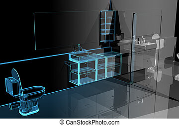 Modern bathroom 3D xray blue transparent