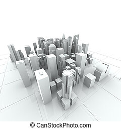 nowy, York, Miasto, (rendered, biały, 3d)