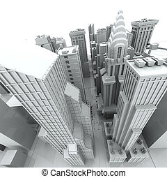 New York City rendered, white, 3d