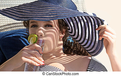 Girl drinking water - Gorgeous teen girl drinking water on...