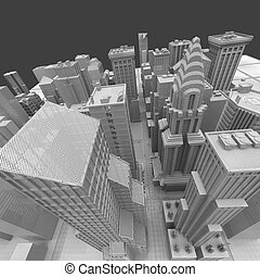 New York City (rendered, white, 3d, wire mesh)