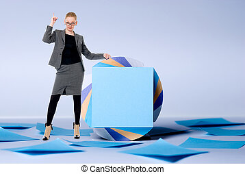 Young business woman with a raised finger up standing at billboard. Pay attention to the ad