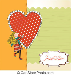 Funny girl with hearts. Doodle cartoon character. Vector...