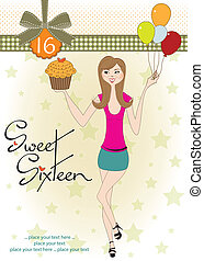 Sweet Sixteen Birthday card with young girl