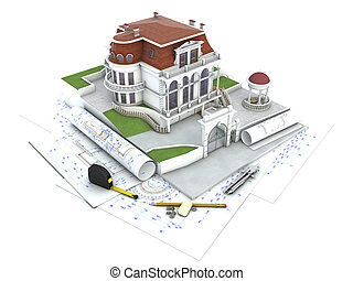 House design progress, architecture drawing and...