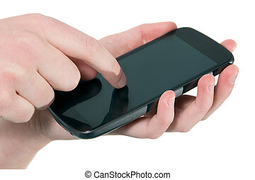 Mobile phone in use - Close up of a female hand using a...