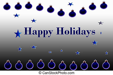 Happy Holidays Blue Poster - Happy Holidays poster or card...