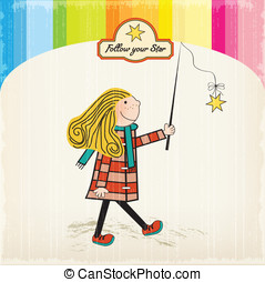 girl following a star, vector illustration