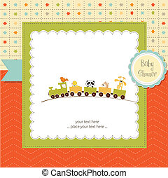 baby shower card with toy train, illustration in vector...