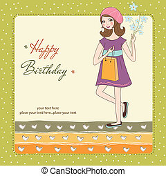 pretty girl with gift and flowers. birthday card