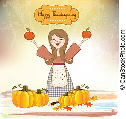 autumn girl with apples and pumpkins