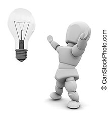 Bright idea - Person with light bulb