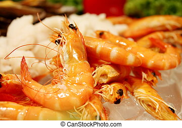 Shrimp boil - Boiled shrimp on ice for a party