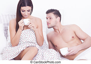 Sexy passion couple with coffee