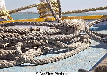 Boating Ropes at Bet Dwarka - Horizontal abstract image of...