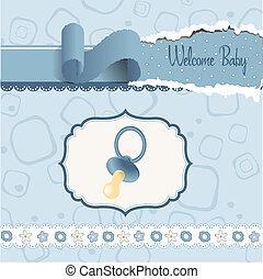 new baby boy shower card with cute pacifier