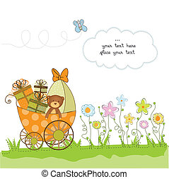 new baby announcement card with pram
