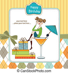 Attractive young girl sitting on the edge of a glass. Glamorous birthday card