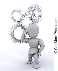 Problem solving - Someone thinking with gears in background