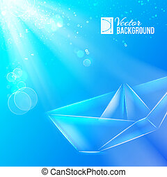 Paper ship - Paper ship origami Vector illustration,...