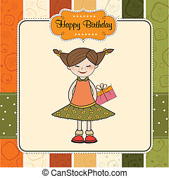 excited young girl she hide a special gift, vector...
