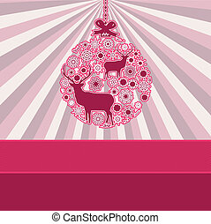 Christmas bauble over pink vintage. EPS 8