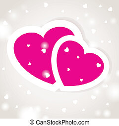 Cute vector background with two pink hearts