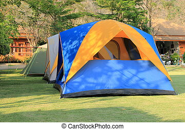 Tent set up for camping