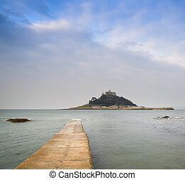 St Michaels Mount Bay Marazion early morning landscape with...