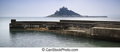 St Michaels Mount Bay Marazion long exposure landscape with...