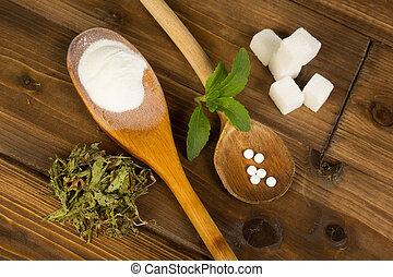 Sugar or stevia - Real sugar lumps and stevia in powder...