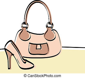 Abstract handbag and woman shoe drawing