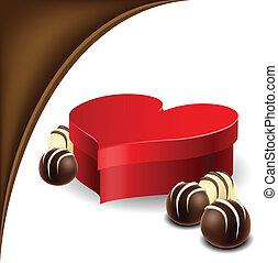 Valentine heart box with chocolate - Red Heart shaped box...