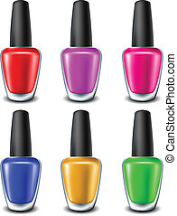 Nail polish set in different colors isolated on white